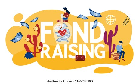 Fundraising concept. Idea of charity and sponsorship. Money investment in idea. Isolated flat vector illustration
