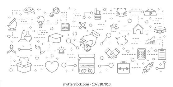 Fundraising icons set. Linear illustration on white.