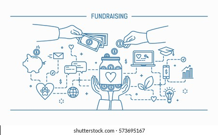 Fundraising. Line art flat contour vector illustration.