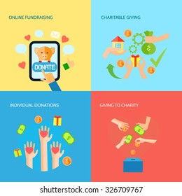 Funds raising and donation online 4 flat icons square composition charitable organization banner abstract vector isolated illustration