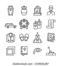 Funeral agency line icon set. Hearse, coffin, gravestone, wreath, suit, bible, priest flat vector illustration. Editable stroke.