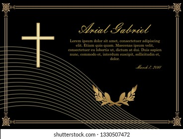 Funeral announcement in luxurious design. Filigree golden embossed patterned borders. Luxurious obituary with golden crucifix and lawrence branches on black background.