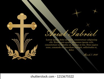 Funeral announcement in luxurious design. Luxurious obituary with golden crucifix and lawrence branches on black background with light rays.