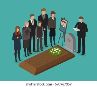 Funeral, burial concept. Cemetery, grave vector illustration