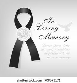 Funeral card. Black awareness ribbon with white rose flower on the light background