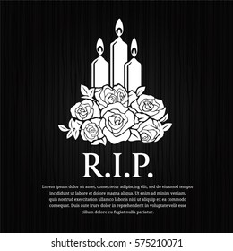 Funeral card - candle burning and rose sign on black wood background vector design