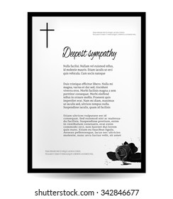Funeral card with dark rose, black cross, place for text, Deepest Sympathy