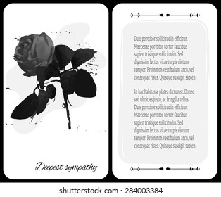 Funeral card with dark rose, place for tex, Deepest Sympathy