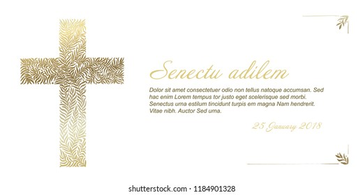 Funeral card template with golden cross made from leafs on white background