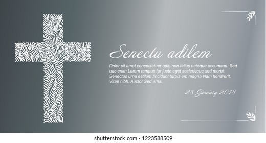 Funeral card template with golden cross made from leafs on silver background