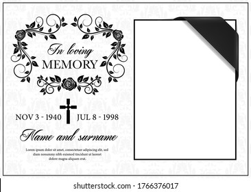 Funeral card vector template, vintage condolence flower ornament with cross, place for photo with black ribbon in corner, name, birth and death dates. Obituary memorial, gravestone funeral card