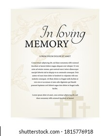 Funeral card vector template, vintage condolence obituary with typography in loving memory, cemetery christian crosses and flying doves above graveyard. Obituary memorial, funeral card, necrologue