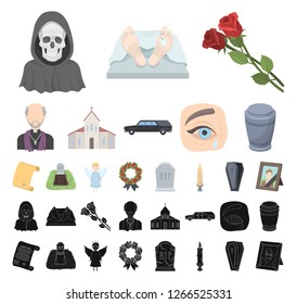 Funeral ceremony cartoon, black icons in set collection for design. Funerals and Attributes vector symbol stock web illustration.