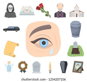 Funeral ceremony cartoon icons in set collection for design. Funerals and Attributes vector symbol stock web illustration.