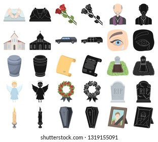 Funeral ceremony cartoon,black icons in set collection for design. Funerals and Attributes vector symbol stock web illustration.