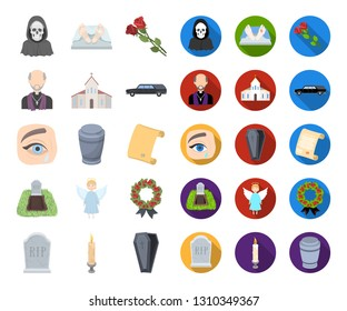 Funeral ceremony cartoon,flat icons in set collection for design. Funerals and Attributes vector symbol stock web illustration.