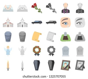 Funeral ceremony cartoon,monochrom icons in set collection for design. Funerals and Attributes vector symbol stock web illustration.