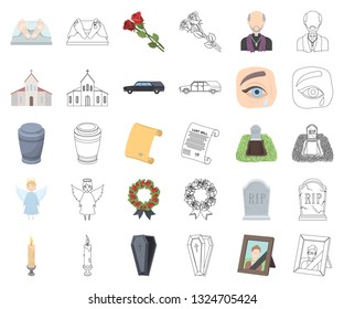 Funeral ceremony cartoon,outline icons in set collection for design. Funerals and Attributes vector symbol stock web illustration.