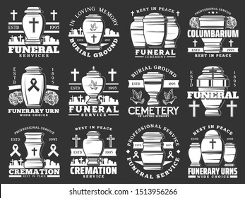 Funeral ceremony and cremation service, cemetery and funerary urns isolated icons. Vector burial agency, columbarium, crosses and tombs. Memory inscriptions, rest in peace, RIP and doves, graveyard