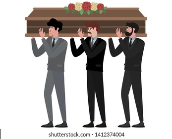 The funeral ceremony, men carry the coffin. In minimalist style Cartoon flat Vector Illustration, isolated on white background