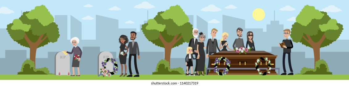 Funeral ceremony on the cemetery. Sad people in black clothes standing with flowers and wreaths around coffin. Vector flat illustration