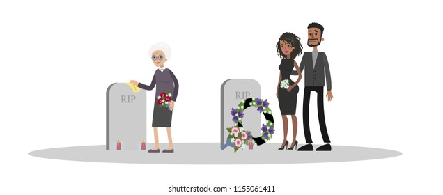 Funeral ceremony on the cemetery. Sad people in black clothes standing with flowers at the tombstone or grave. Isolated vector flat illustration