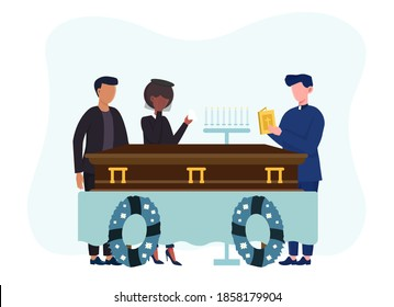 Funeral ceremony on the cemetery. Sad people in black clothes standing with flowers and wreaths around coffin. Concept of sorrow and loss of a loved one. Flat vector illustration