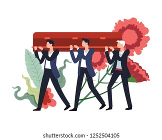 Funeral ceremony people carrying wooden coffin with body of deceased person inside vector flowers in bloom and foliage decor men mourning death service burial procession with males and casket.
