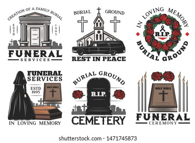 Funeral ceremony vector icons of burial, cremation and interment service. Cemetery, tombstone and coffin, bible, church and crosses, memorial flower wreath, candles and ossuary, widow and hearse car