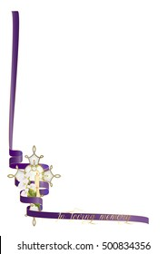 Funeral, christian death or remembrance religious background with copy space for text. Cross with flowers and purple ribbon.