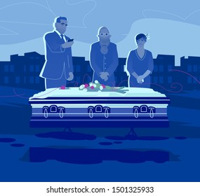 Funeral concept. Ceremony on the cemetery. Group of sad people are standing by the coffin. Isolated vector flat illustration