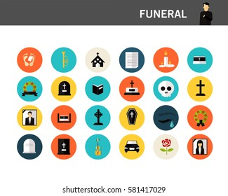 Funeral concept flat icons.