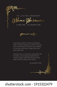 Funeral condolence death notice card template with handdrawn golden floral elements - gold black version