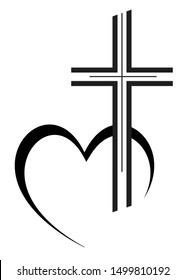 funeral cross vector illustration with heart