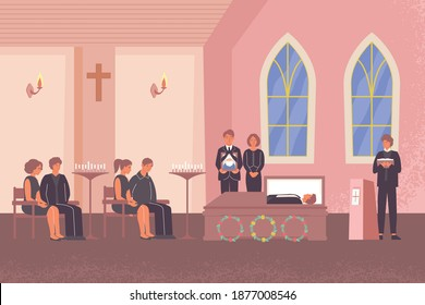 Funeral flat composition with indoor church scenery and pastor performing funeral service for deceased persons friends vector illustration