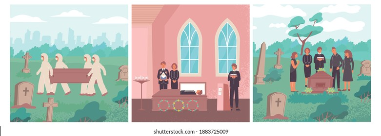 Funeral flat set of three square compositions with landscapes and people during covid-19 burial rites vector illustration