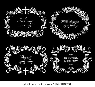 Funeral flowers wreath, condolence and death floral frames, vector RIP ribbons. Deepest sympathy and In loving memory, funeral and obituary card or memorial mourning plaques with cross and flowers