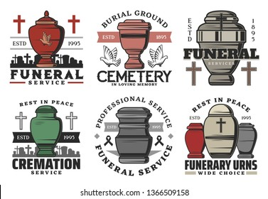 Funeral and funerary urn columbarium icons. Vector funeral or cremation burial service agency symbols of cremation urn on cemetery graveyard with memorial ribbon, flowers or doves and cross