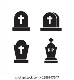 Funeral Gravestone Icon Vector Template Illustration