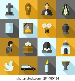 Funeral icons flat long shadow set with ash candle church isolated vector illustration