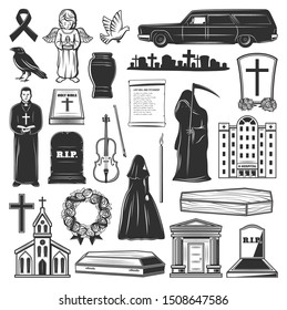 Funeral icons and symbols of grave tombstone, death and coffin at cemetery. Vector church, funeral hearse car and widow in black, cremation urn and columbarium mortuary flowers, priest with bible