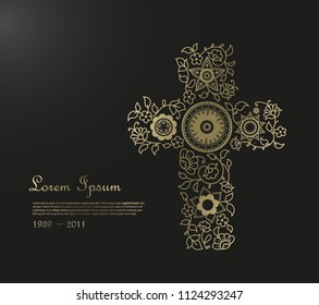 Funeral illustration template with flower cross and place for your text.