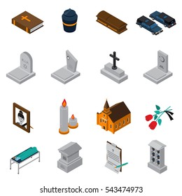 Funeral isometric icons set of bible ash coffin tombstone candles photo church roses testament isometric vector illustration