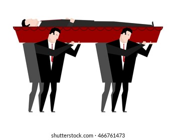 Funeral. Men carry coffin with dead. Red wooden hearse with corpse. Grief illustration