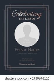Funeral obituary template. Celebreting a life. Memorial invitation card with place for photo
