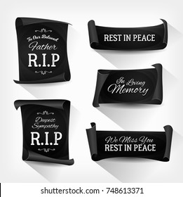Funeral Rest In Peace Banners/ Illustration of a set of elegant design black funeral banners and ribbons for burial