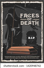 Funeral service, burial ceremony organization agency or company vintage poster. Vector death in black gown with scythe at cemetery tombstone with funeral Rest in Peace RIP text and coffin