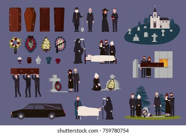 Funeral service and ceremony collection. Grieving people dressed in black mourning clothes, graves, coffins, funerary urns, hearse, cemetery, burial and cremation procedures. Vector illustration.