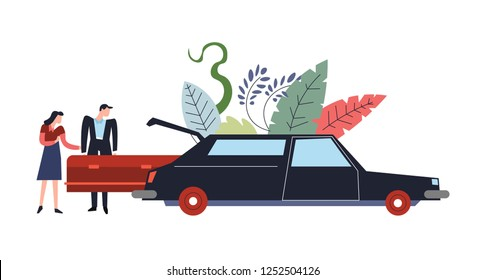 Funeral service ceremony of dead person burial people with coffin vector car transporting corpse deceased human in wooden casket mourning man and woman and transport foliage and leaves decor.