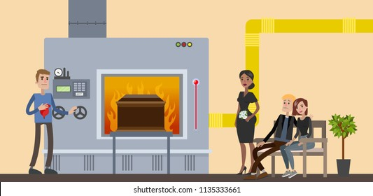 Funeral service in crematory. People in black clothes crying at the burial ceremony. Vector flat illustration